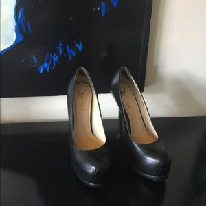 Yves Saint Laurent Tribute Two Black Leather Heels